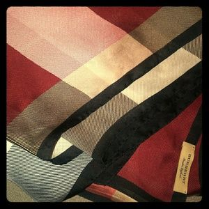 Burberry Burgundy/Black/Rose/Red Check Silk Scarf